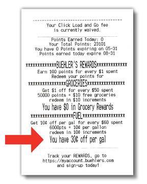 Fuel Rewards Receipt Example