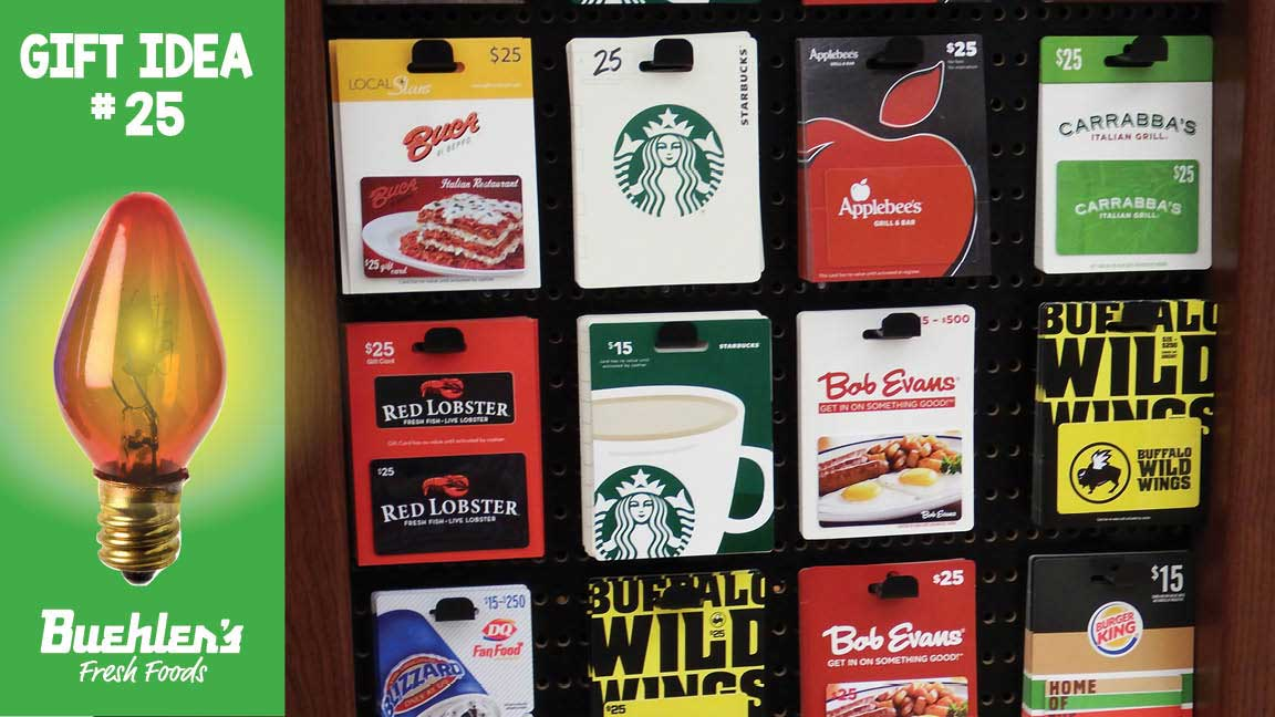 Gift Cards - great for a last minute gift - anytime!