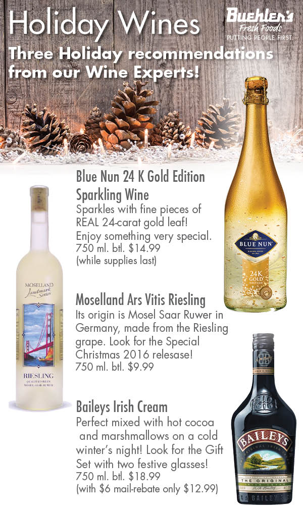 Holiday Wine Selections from Buehler's Fresh Foods