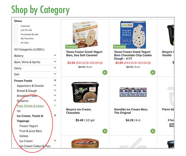 Shop by category for groceries online