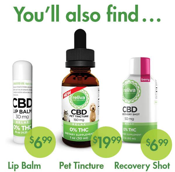CBD for pets plus CBD lip balm and CBD recovery shot